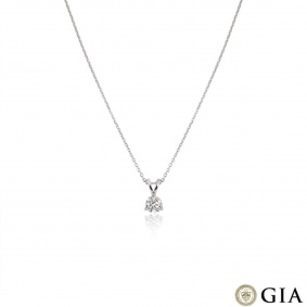 Platinum Round Brilliant Cut Diamond Pendant 0.70ct G/VS1
